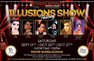The Amazing & Elegant Illusions Drag Show at Neon Boots Saturday, October 27th!