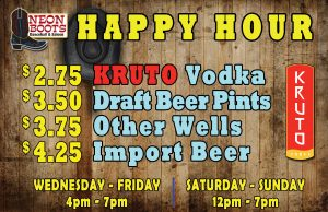 POSTPONED UNTIL APRIL 1ST - Wednesday Happy Hour Drink Specials