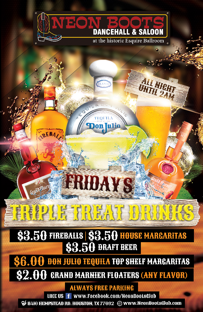 NEON BOOTS TRIPLE TREAT DRINK SPECIALS