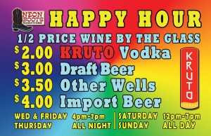Wednesday Happy Hour until 7pm