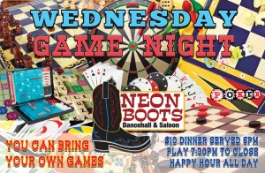Wednesday Game Night, Dinner & Happy Hour All Night
