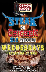 Join Us for STEAK NIGHT Every Wednesday at 6pm for ONLY $10 - No Steak Night Wed. January 2, 2019