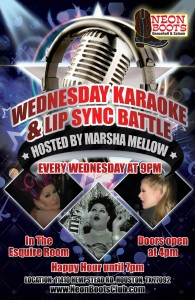 Wednesday KARAOKE with HOST MARSHA MELLOW at 9pm