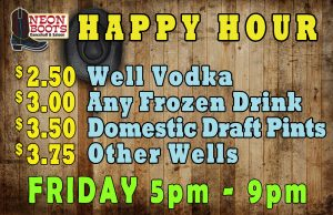 Happy Hour Drink Specials 5pm to 9pm