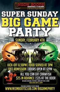 SUPER SUNDAY BIG GAME PARTY & ALL YOU CAN EAT CRAWFISH @ Neon Boots Dancehall and Saloon