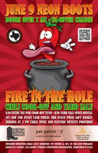 FIRE IN THE HOLE CHILI COOK-OFF & YARD SALE!!! @ Neon Boots Dancehall and Saloon