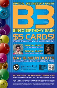 A SPECIAL WEDNESDAY BINGO BIRTHDAY BASH!!! @ Neon Boots Dancehall and Saloon
