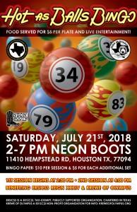 HOT AS BALLS BINGO SATURDAY JULY 21ST!