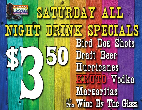 SATURDAY DRINK SPECIALS ALL DAY!