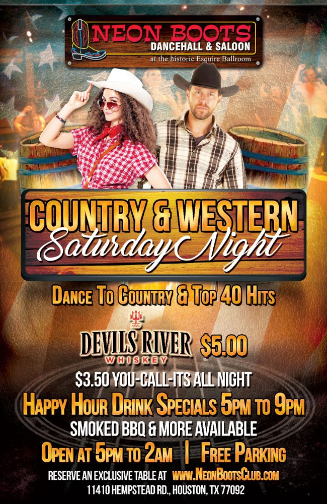 COUNTRY & WESTERN SATURDAY AT NEON BOOTS
