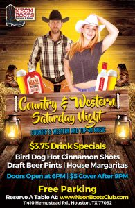 SATURDAY COUNTRY & WESTERN PARTY!!!