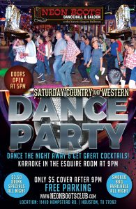 SATURDAY COUNTRY & WESTERN DANCE PARTY!!! @ Neon Boots Dancehall & Saloon