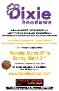 DIXIE HOEDOWN - DANCE WORKSHOP EVENT! @ Neon Boots Dancehall & Saloon