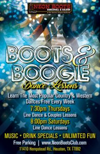 POSTPOSED UNTIL JULY 2020 - FREE Country & Western Dance Lessons Every Thursday! @ Neon Boots Dancehall & Saloon