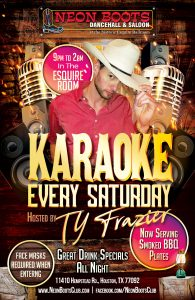 TY FRAZIER Host & Sings KARAOKE Every Saturday!